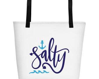 Salty Beach Bag, Summer Beach Tote Bag, Summer Accessories, Summer Tote, Beach Tote Bag, Girls Trip Tote, Lake Trip Bag, Tote, Summer Bag