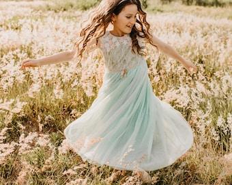 mint  green tulle flower girl dress