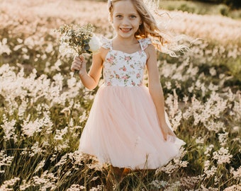 Pink  floral cotton girls summer dress with flutter sleeves. Perfect for Birthday party, wedding, flower girl, or photoshoots