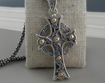 Sterling Silver & 18K Celtic Cross Pendant