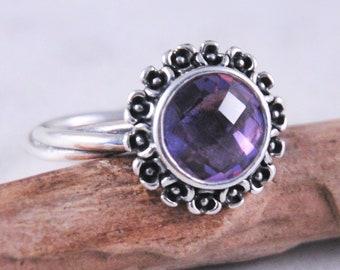 0905bddac Sterling Silver Pandora Floral Elegance Amethyst CZ Ring Size 9 1/2, Ale CZ  Ring, Purple Flower Ring