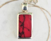 Heavy Sterling Silver Red Jasper Inlay Pendant, Sterling Rectangle Red Pendant