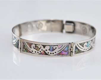 Mexican Bracelet Alpaca Silver Abalone Shell 5-38 Vintage Childs Hinged Green Enamel Inlay P54