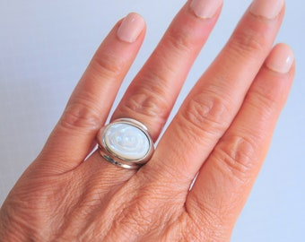 Sterling Silver RLM  Studio Wave Ridge Ring Band Size 7.75 Thick Chunky Ring Mid Century Style Ring Robert Lee Morris Silver Ring