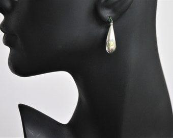 Vintage Sterling Silver long Hoop Earrings, Sterling Latch Back Hoop Earrings, Sterling Drop Hoop Earrings