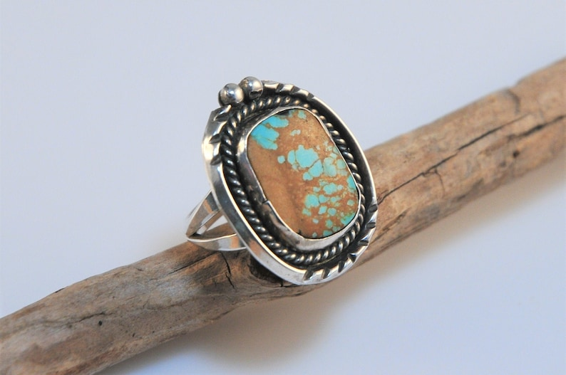 Native American Sterling Silver Navajo Handmade Turquoise Inlay Ring Size 8.75