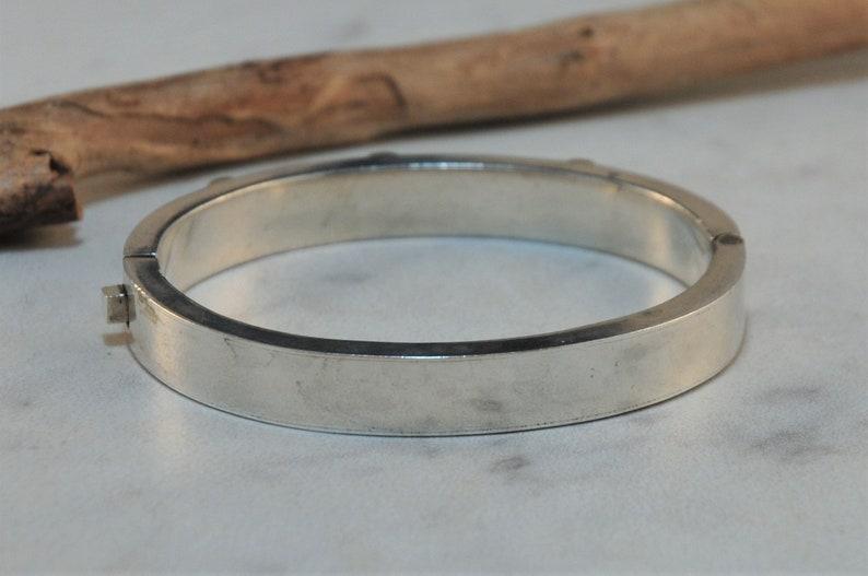 Modernist Taxco Sterling Silver Brass Hinged Bangle Bracelet Heavy Two Tone Bracelet