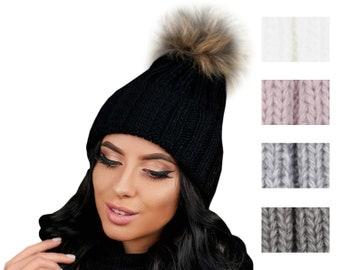 d9e41cba791f Pom Pom Beanie, chapeau d hiver, bonnet de laine, bonnet, chapeau de  fourrure Pom Pom, bonnet pompon, bonnet femme, Tuque Pompon, bonnet, bonnet  à revers