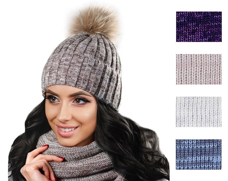 2687efa50df Hat And Scarf Set Hats And Scarves For Women Fur Pom Pom Hat