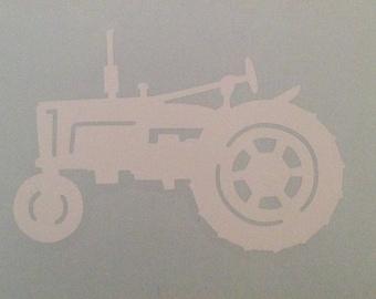 Round tractor Vinyl decal sticker Water bottle// glass etc