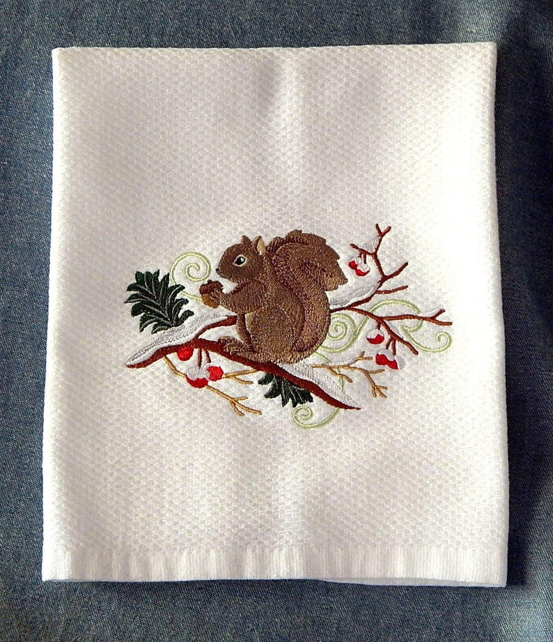 Squirrel On A Winter Branch Berry Spray Embroidered Kitchen Towel