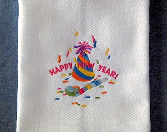 Happy New Year Celebration Embroidered Kitchen Towel
