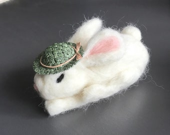 White needle felted bunny with hat