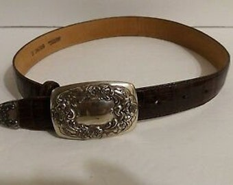 Vintage 1996 Brighton Leather Small Women Leather Belt Silver Buckle 24009