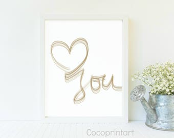 love you, heart, printable art, instant download, digital download, calligraphy, lettering, quote
