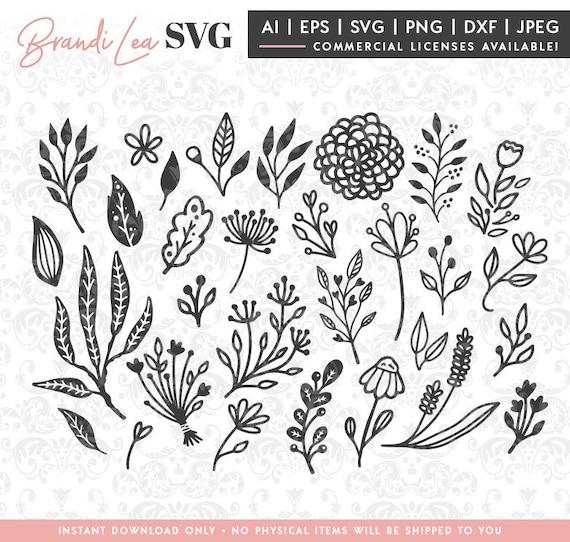 30 Pc Floral Svg Set Hand Drawn Flower Leaves Svg Dxf Etsy