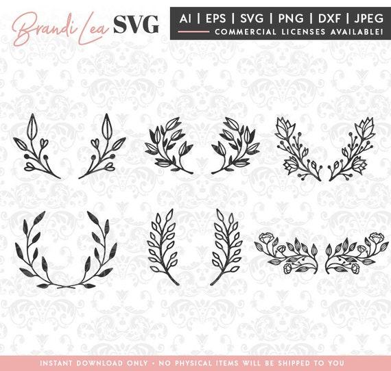 Laurel Svg Set Floral Hand Drawn Flower Leaves Svg Dxf Etsy
