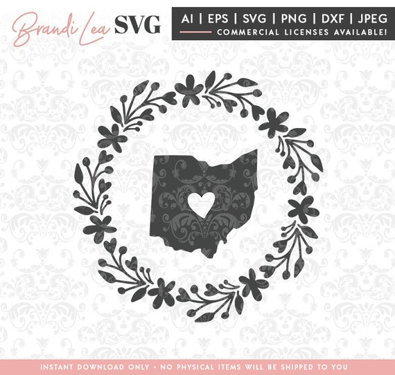 Ohio Wreath Svg Ohio State Map State Svg Dxf Eps Quote Etsy
