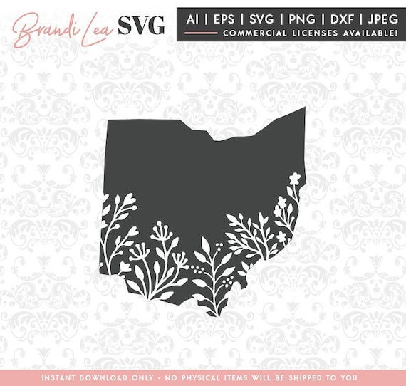 Ohio Floral Svg Ohio State Svg Map State Svg Dxf Eps Etsy