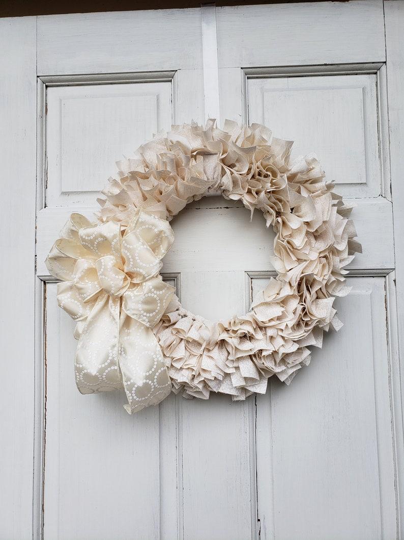 Wedding Decor Rag Wreath Ohio Girl Creations Farmhouse Decor Everyday Home Decor