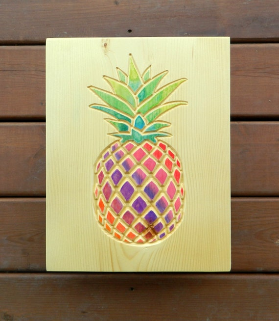 pineapple carved and hand painted watercolor wood wall art