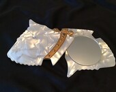 Cute stylish faux mother of pearl 1950 s Scottish terrier pocket mirror compact. Fun unique, vintage beauty item.
