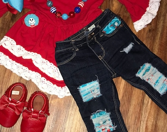 Dr Seuss thing one and two distressed denim