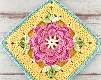 Retro Style Floral Crocheted Potholder