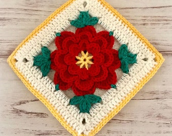 Red and Teal Floral Crocheted Potholder