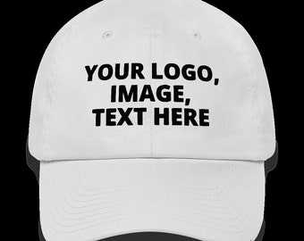 be4a1200337f9b White Dad hat, add your logo, image or text on this Dad hat.