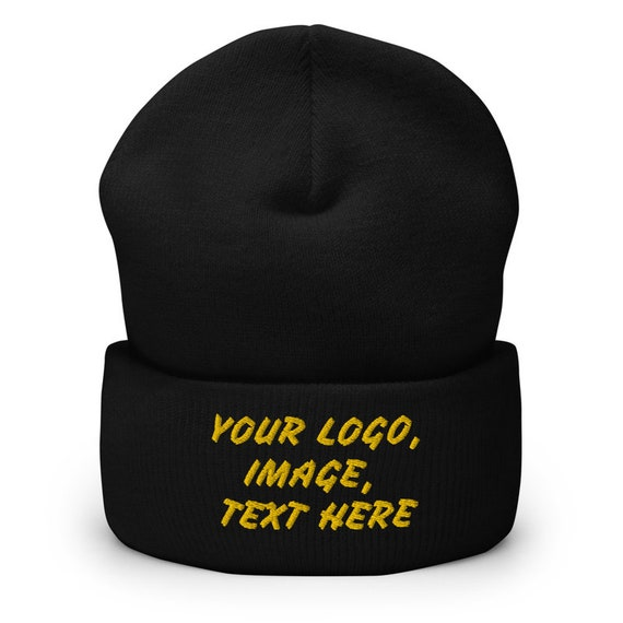 add your logo or text on this Beanie hat. Black Beanie hat