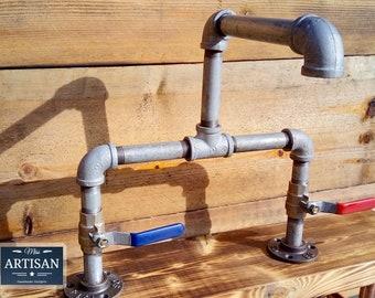 Galvanized Pipe Mixer Taps - Lever Handle - Rustic / Industrial - Kitchen / Bathroom Taps / Belfast Sink Taps