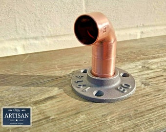 22mm Copper Cast Iron Elbow Floor / Wall Flange Pipe Mount Fits 22mm Copper Pipe - Clothes Rail - Coat Hook - Towel Rail - Pipe Furniture