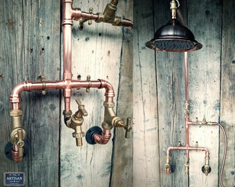 Copper Rainfall Shower With Hand Sprayer And Lower Tap - Exposed Copper Pipe Rainfall Showers - Any Size Made - Outdoor / Indoor Use