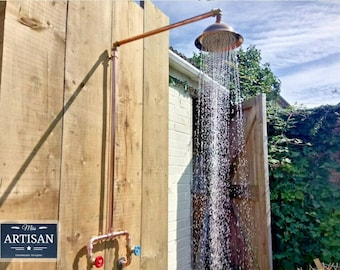 Copper Pipe Rainfall Shower - Rustic / Vintage / Industrial - Exposed Copper Pipe Rain Shower - Any Size Made - Swivel Shower Head - Outdoor