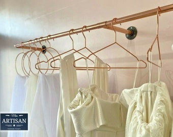 Copper Pipe Clothes Rail - Vintage / Rustic / Industrial - Strong Clothes Rails UK