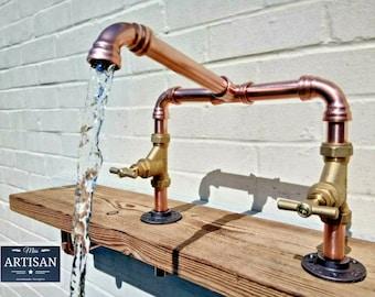 Copper Pipe Swivel Mixer Taps - Rustic / Vintage / Industrial 22mm Kitchen / Bathroom / Belfast Sink Faucet