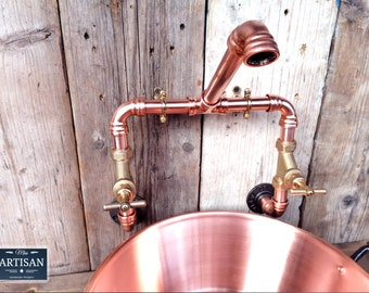 Wall Mounted Copper Pipe Mixer swivel Taps - Kitchen / Bathroom / Rustic / Vintage / Industrial / Belfast Sink Faucet