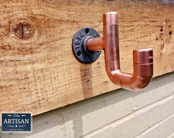 Copper Pipe Double Hook - Clothes / Coats / Towel Hooks - Rustic / Industrial / Vintage - 22mm Thick Copper Pipe
