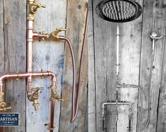 Copper Rainfall Shower With Hand Sprayer, Lower Tap And Down Pipes - Exposed Copper Pipe Rain Showers - Any Size Made - Outdoor / Indoor