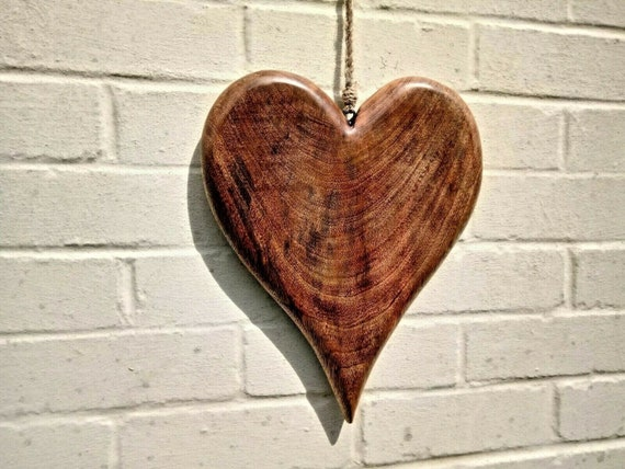 Extra Large Solid Wood Hanging Heart Oversized Handmade Wooden Love Heart Gift Wedding