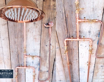 Copper Pipe Rainfall Shower With Hand Sprayer And Down Pipes - Exposed Copper Pipe Rain Shower - Any Size Made - Swivel Shower Arm And Head