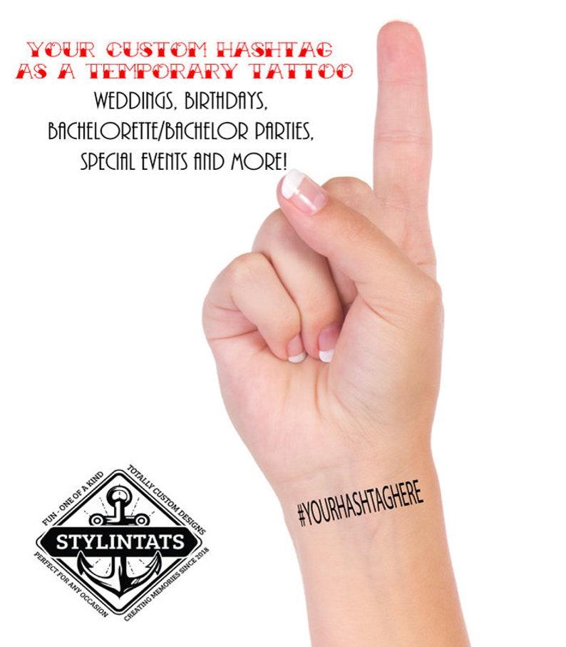 HASHTAG TEMPORARY TATTOO Bachelorette Party Tattoo Custom   Etsy