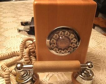 Butcher block telephone 1970s