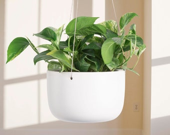 """Ceramic Hanging Planter (6"""" and 8""""). Peach and Pebble Ceramic Hanging Plant Pot. Metal Wires & S Hook (Included). Waterproof Bowl."""