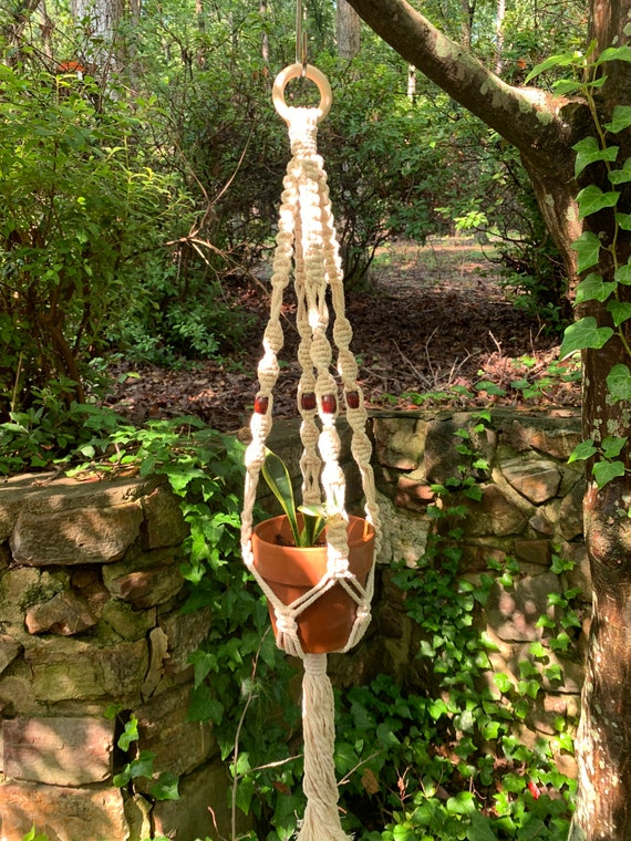 macrame plant hangers with wood beads