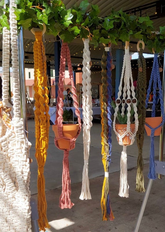 colorful soft cord macrame plant hangers