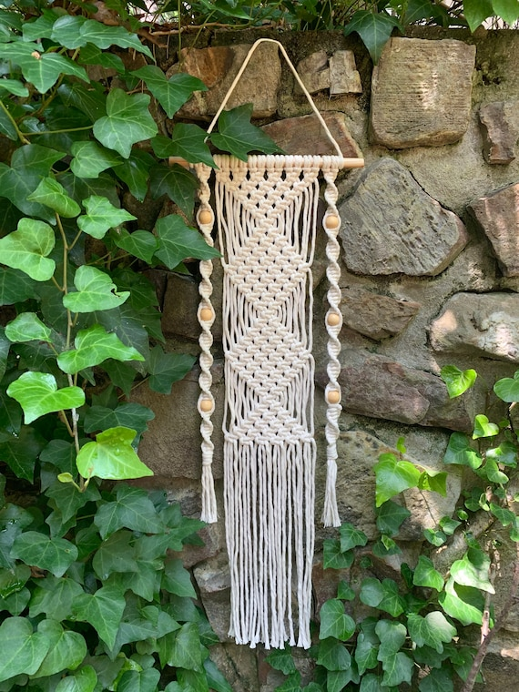 macrame wall hanging with wood beads
