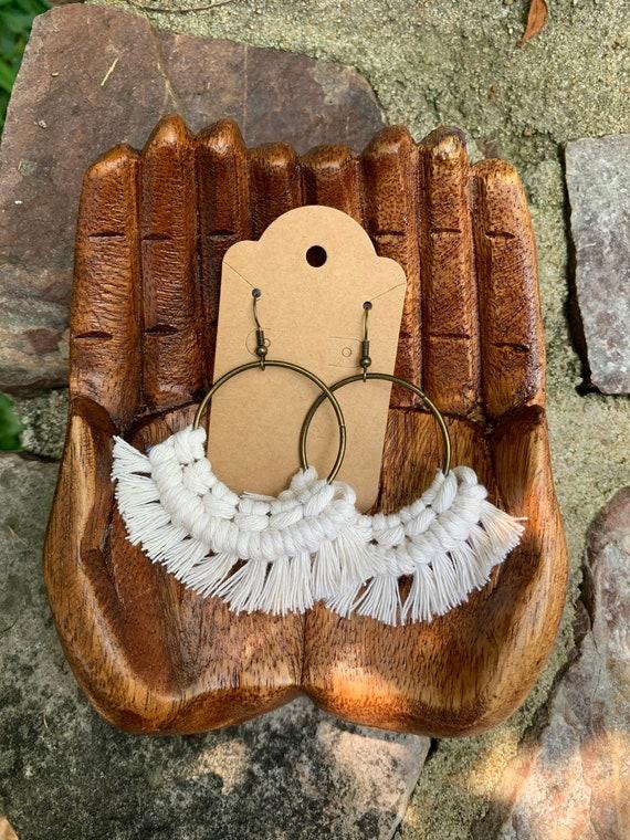 macrame earrings with brass hardware