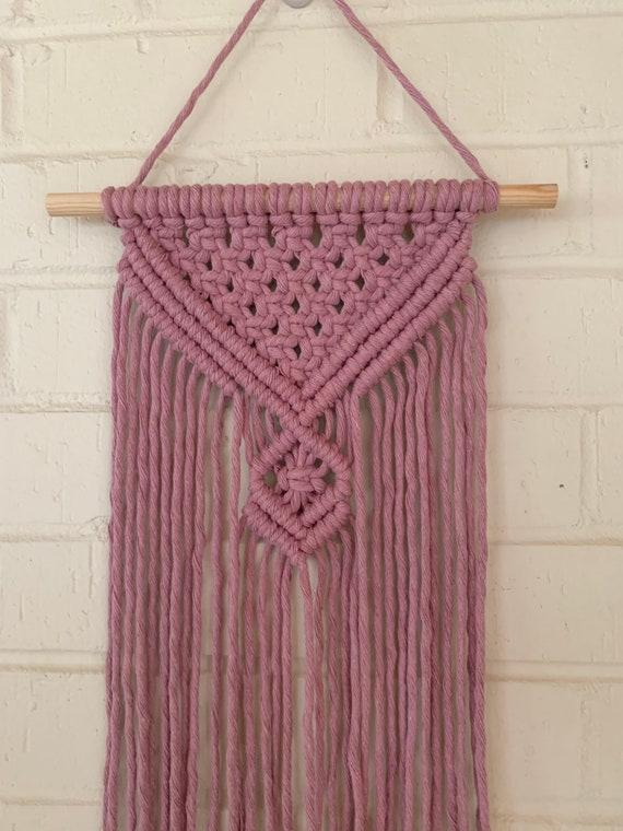 mauve pink macrame wall hanging